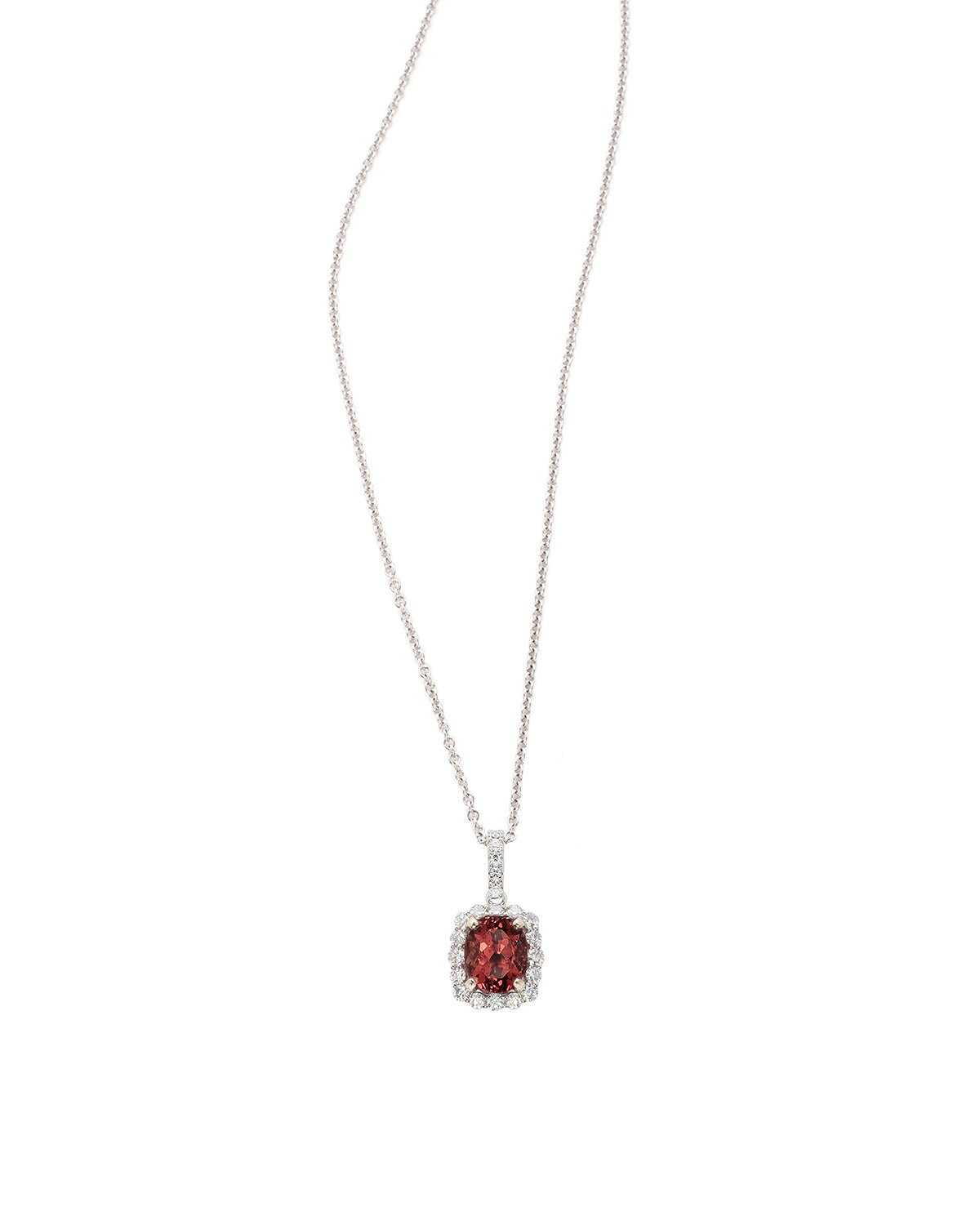 Natural Color Change Garnet and Diamond Pendant in white gold