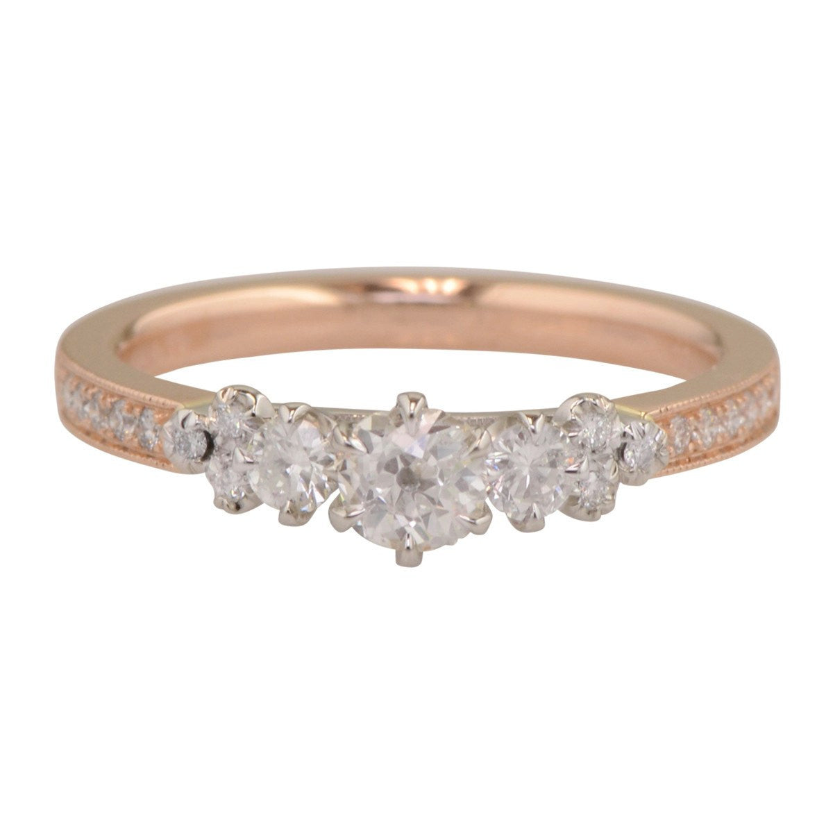 Engagement Ring in Rose Gold and Diamond 'Damask Rose'