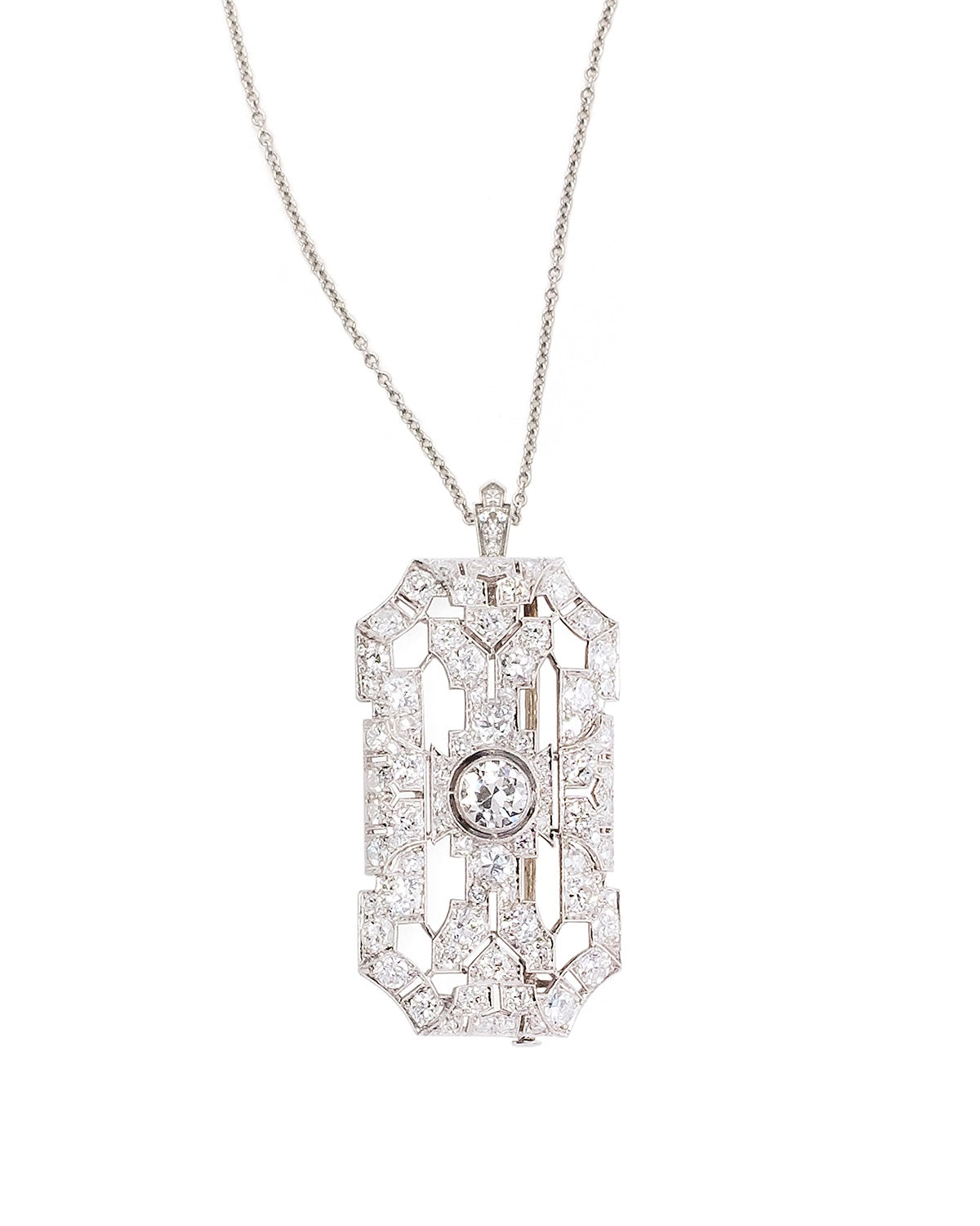 Art Deco Platinum and Diamond Brooch/Pendant