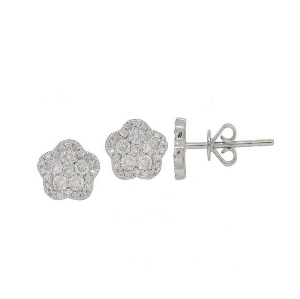 Whtie Gold and Diamond Floral Studs by Luvente
