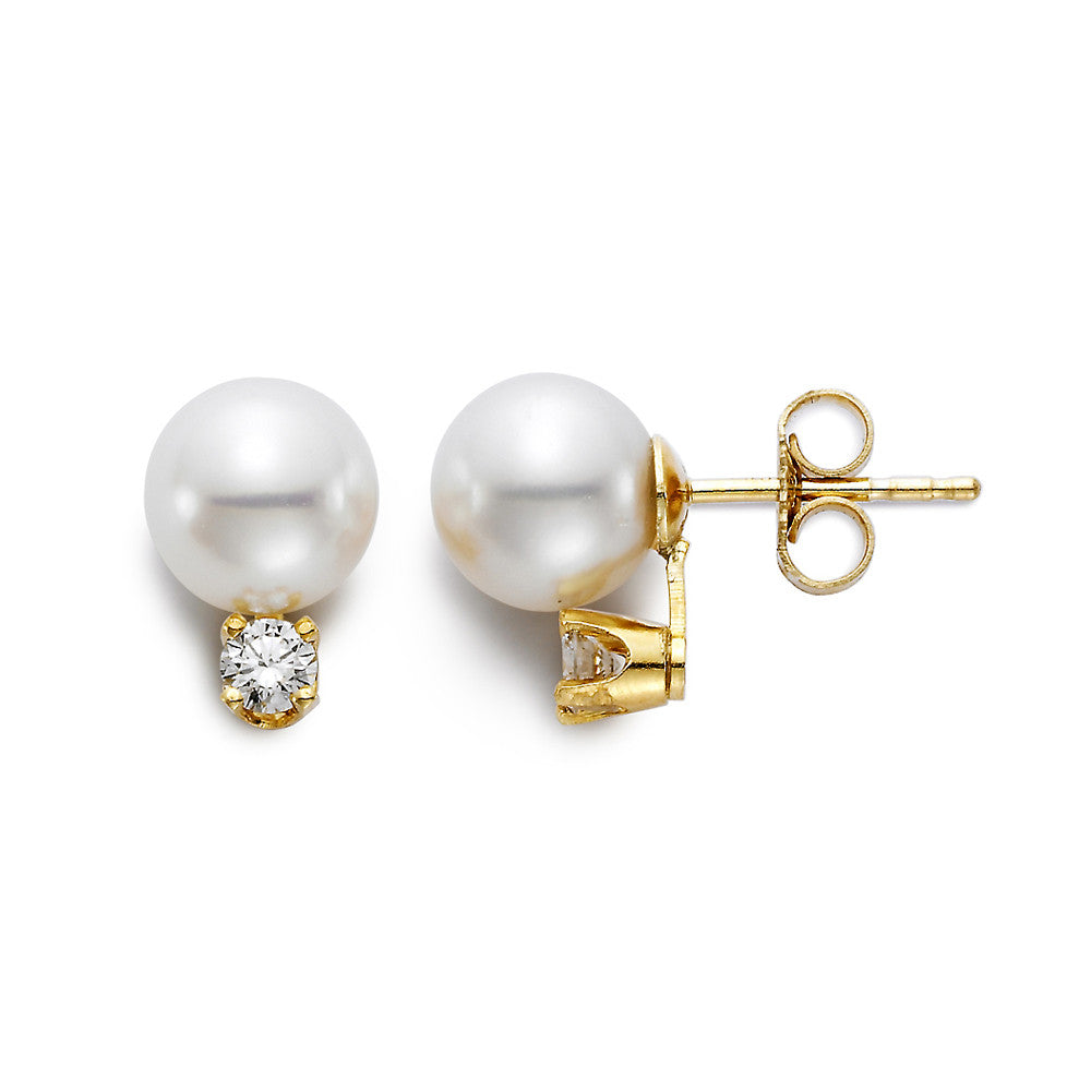 Akoya pearl and diamond earrings in yellow gold. Perfect for the bride.