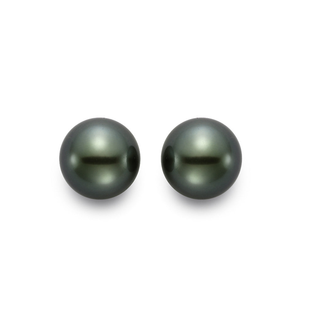 Tahitian black pearl studs on 18k white gold by Mastoloni.