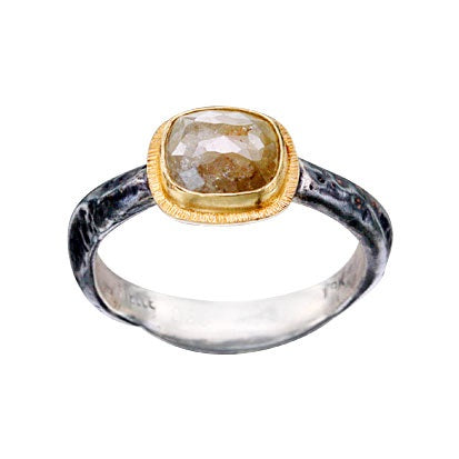 'Adria' Rustic Diamond Ring in yellow gold and silver.