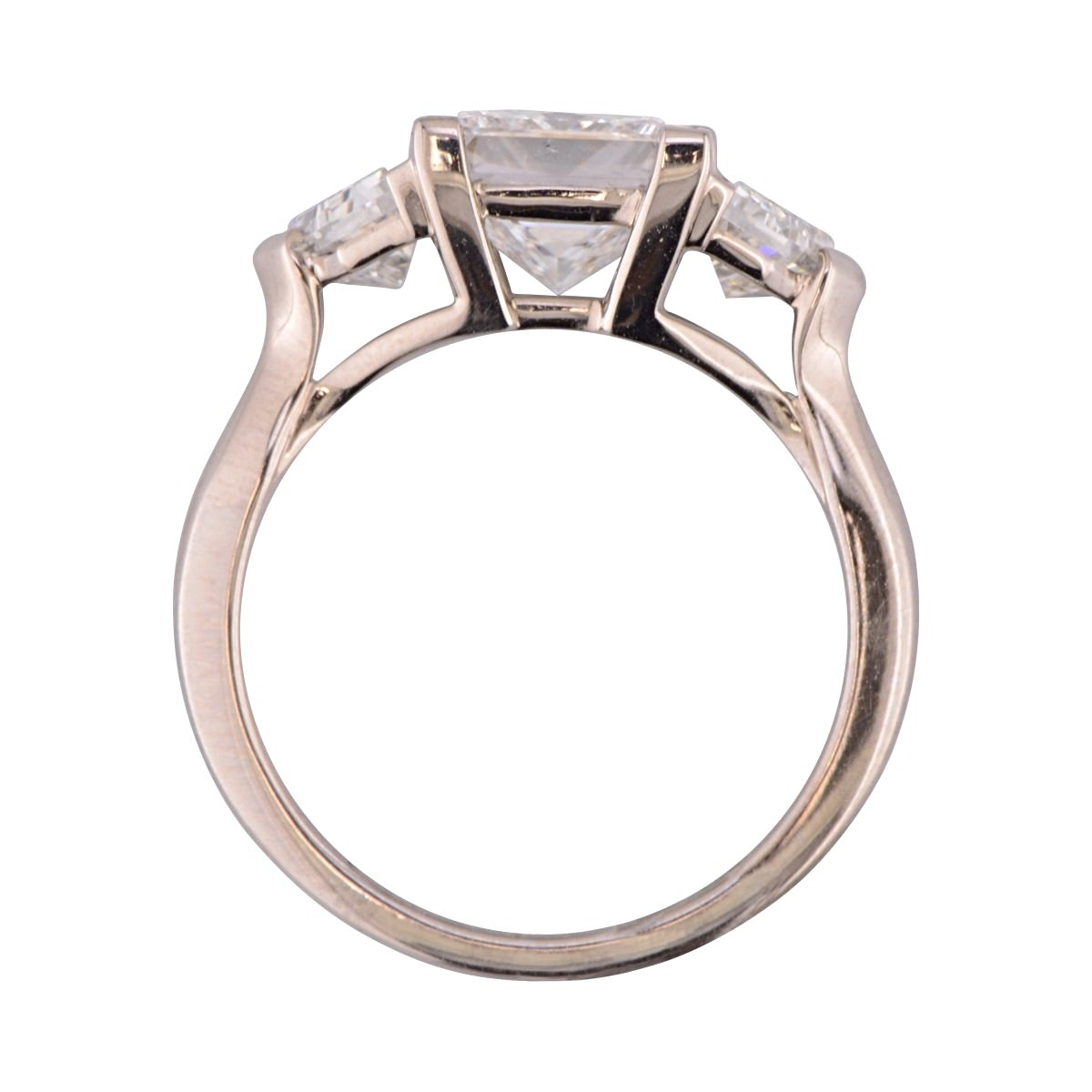 'Florin' Princess Cut Diamond three stone ring.