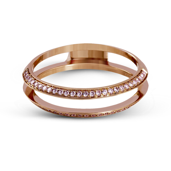 'Glass Slipper' ring gard in rose gold with pink diamonds