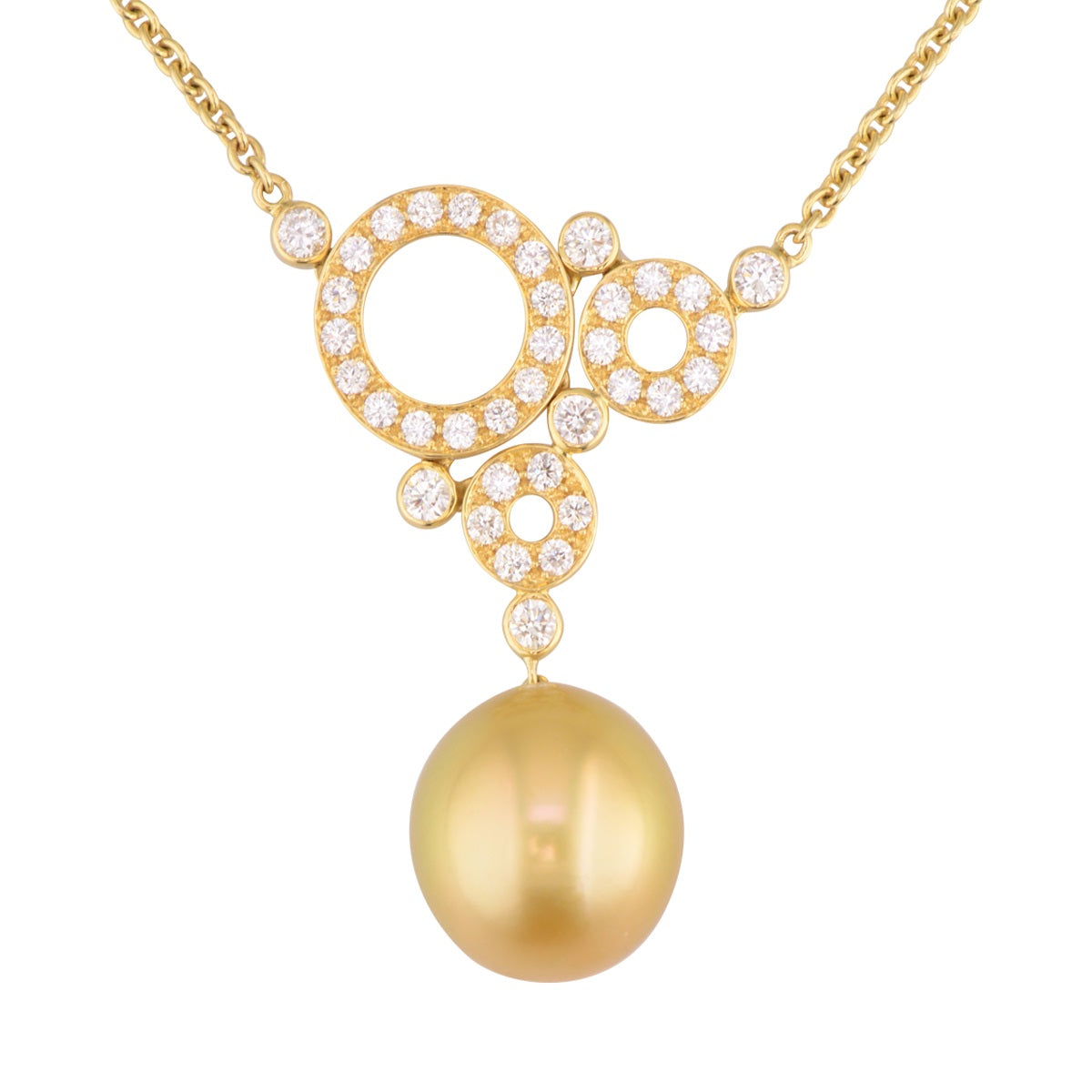'Golden Swiss' diamond and golden pearl statement necklace.