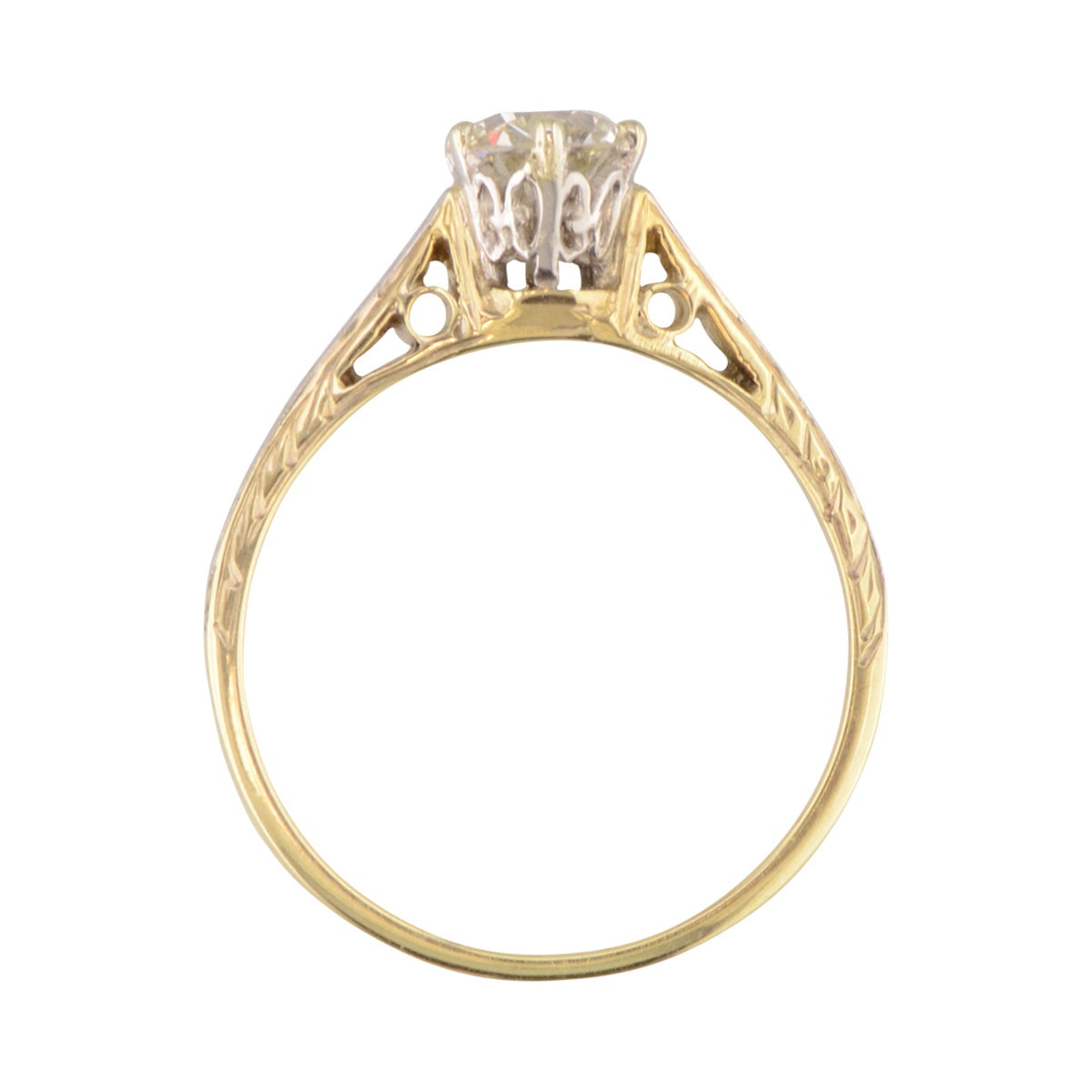 'Greta' cathederal style antique engagement ring.