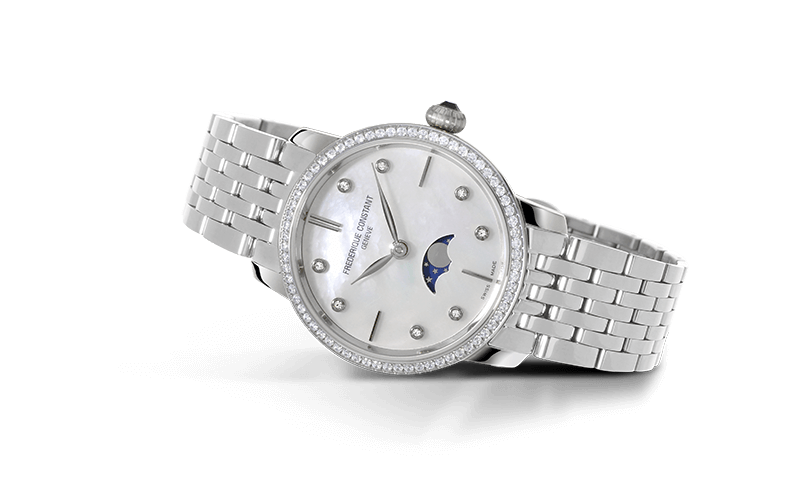 Slimline Ladies Moonphase Ultra Flat Timepieces FC-206MPWD1S6B