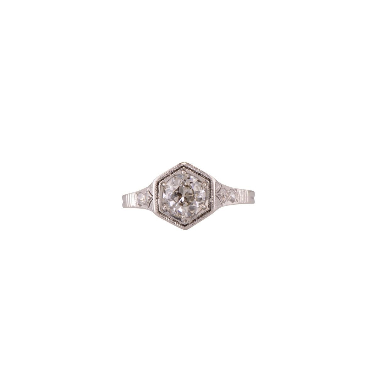 Antique platinum and diamond engagement ring 'Hawthorne'.