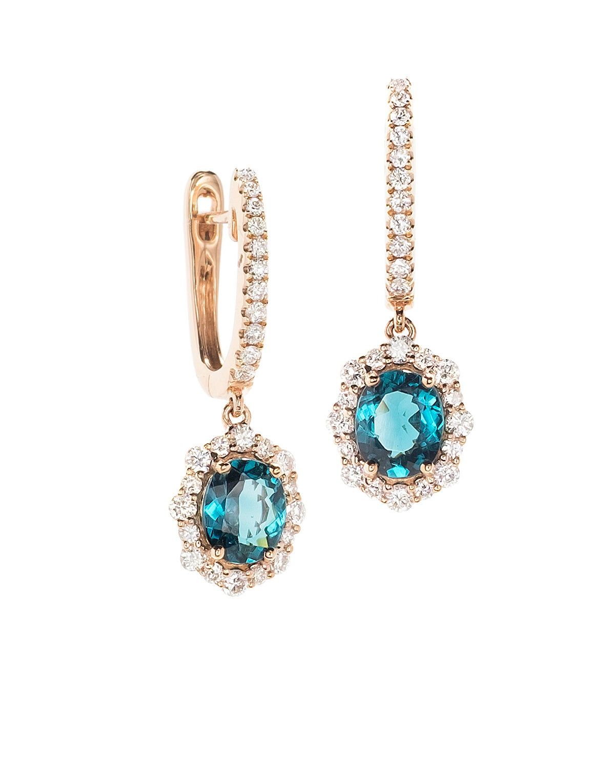 Blue Tourmalilne and Diamond Earrings in rose gold.