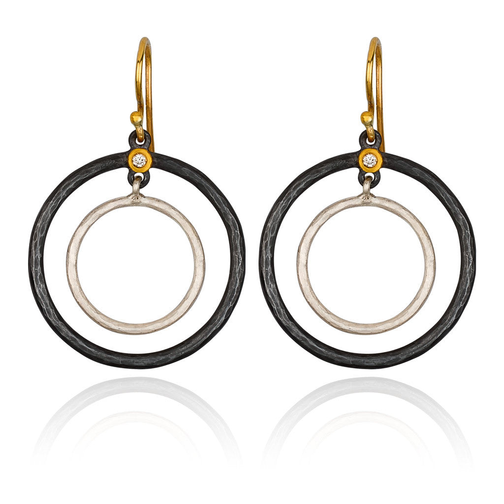 Double Circle Earrings of Silver and 24k Gold