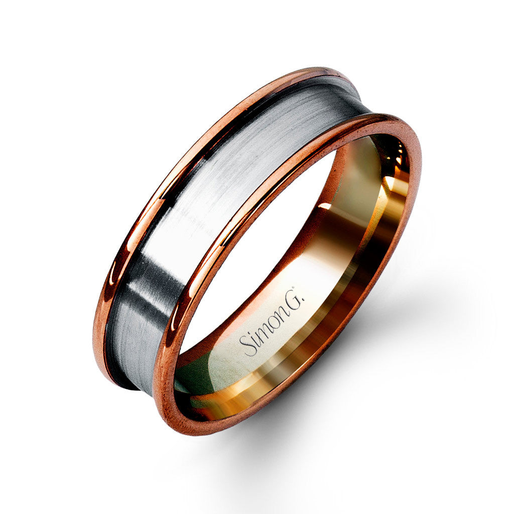 Two Tone Pipe Cut Wedding Band