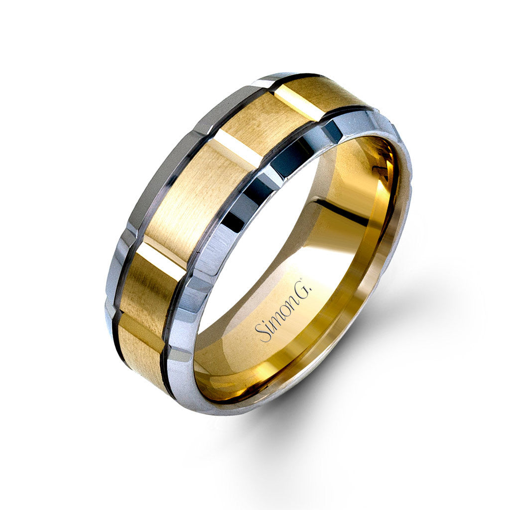 Dimensional two-tone gold men's band by Simon G