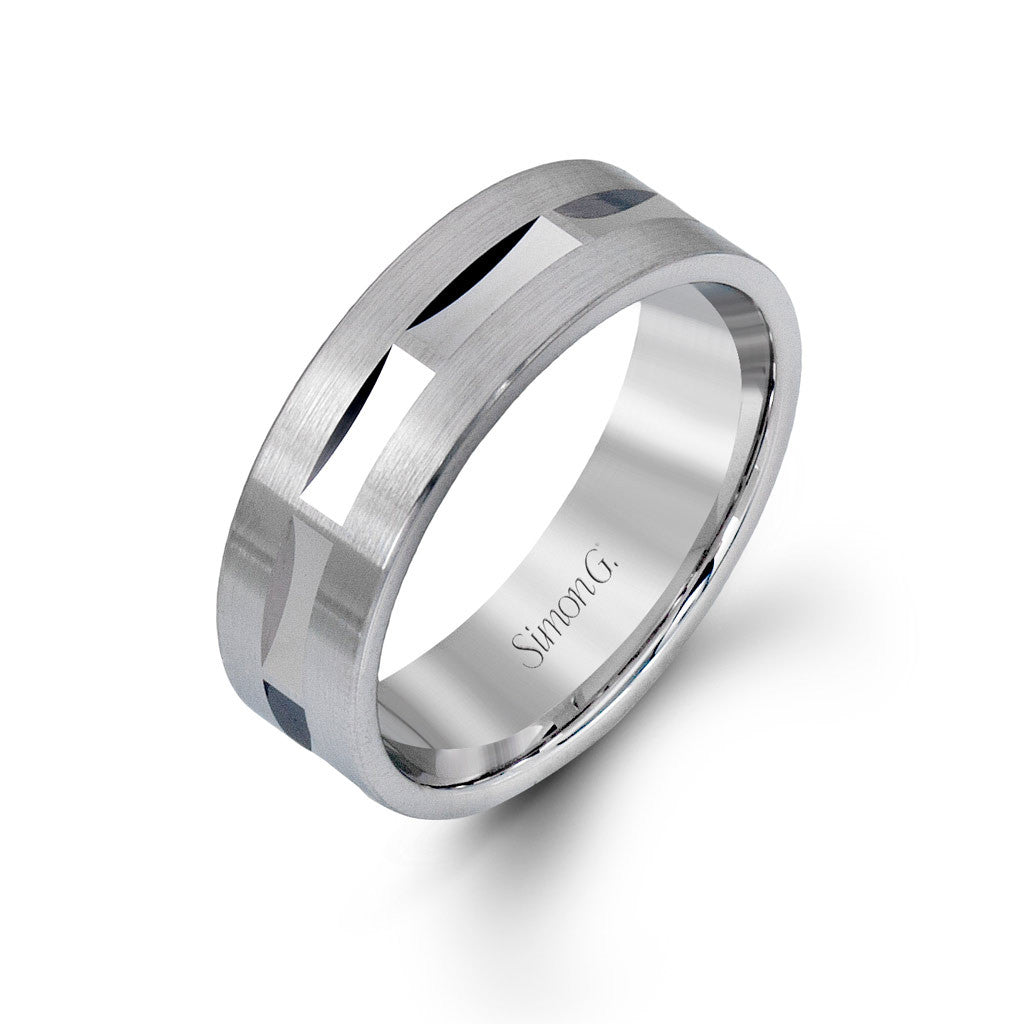 Modern White Gold Men's Wedding Band by Simon G