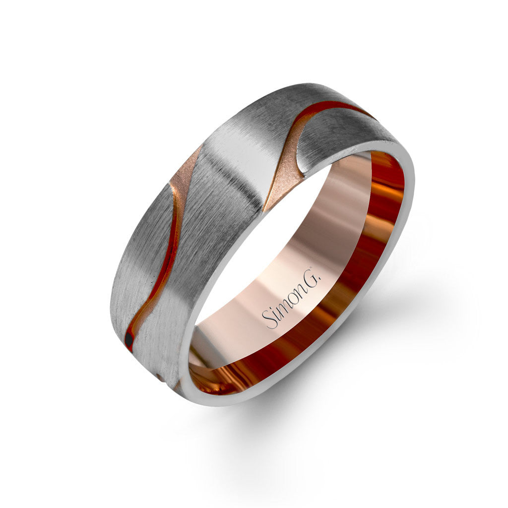 Contemporary men's wedding band in white gold with rose gold organic detail.