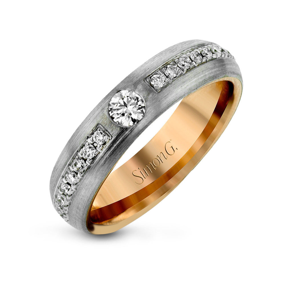 Domed men's wedding band with diamonds