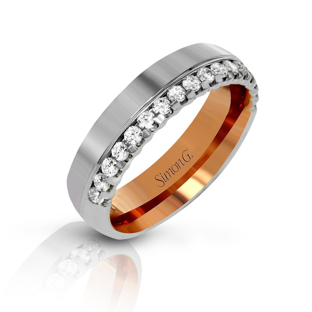 Men's two-tone wedding band with diamonds by Simon G