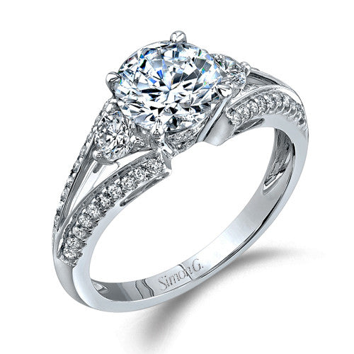 Simon G Three Stone Engagement Ring