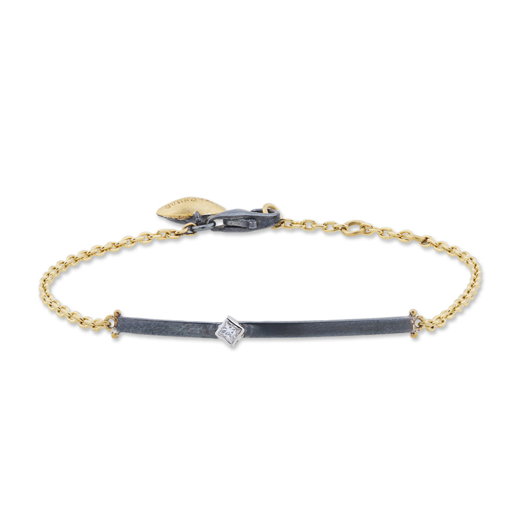 Lika Behar ID Style bracelet in Sterling Silver and 24k Gold with Diamond.