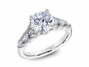 Diamond Embellished Solitaire Engagement Ring by Scott Kay