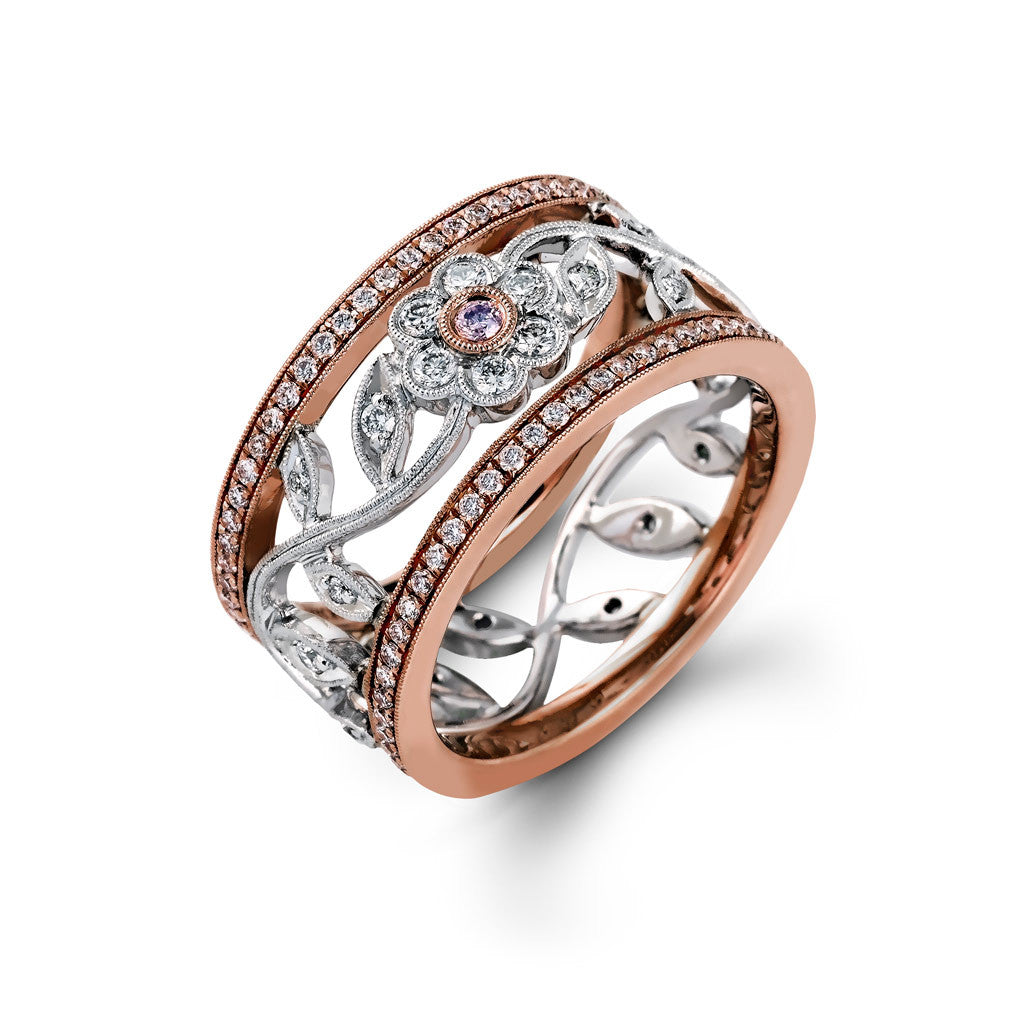 Simon G Floral Diamond Band in White and Rose Gold