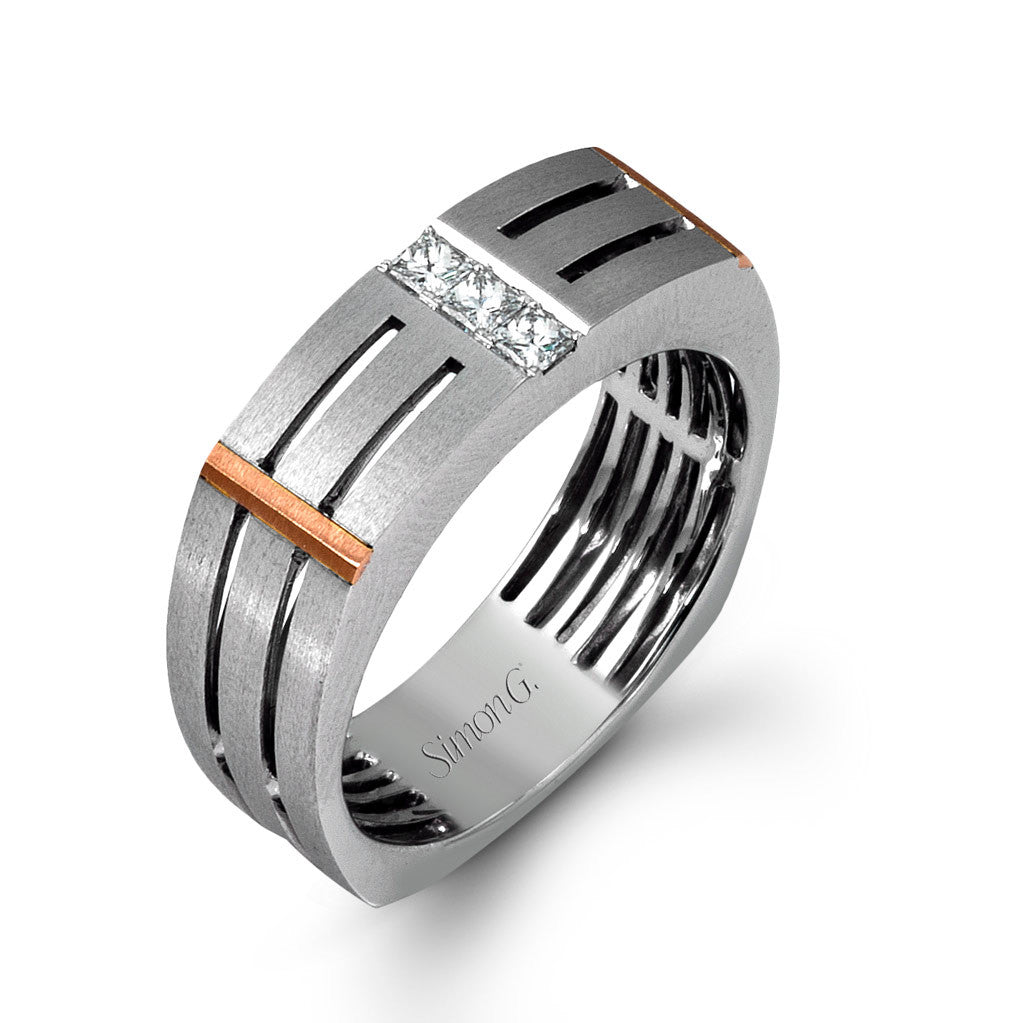 Contemporary men's wedding band in white gold with rose gold and diamond accents.