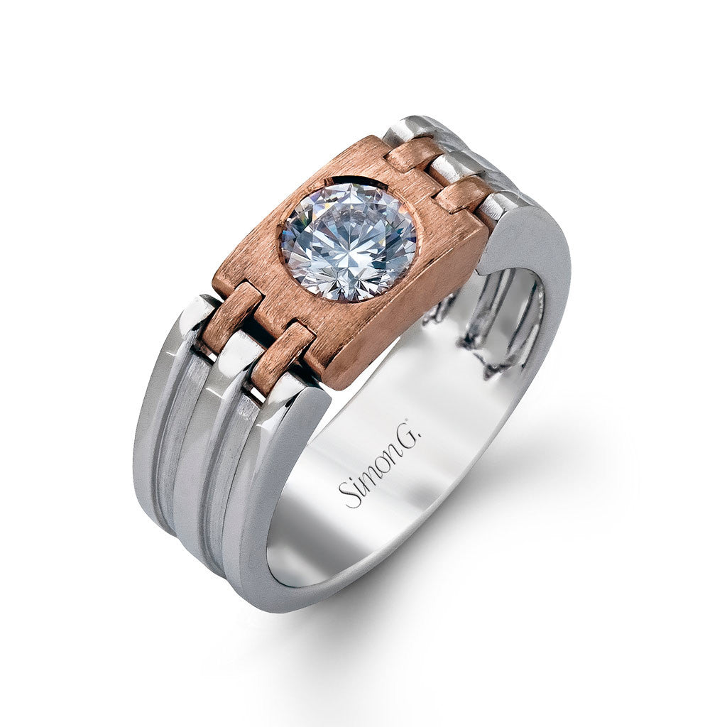 Contemporary Men's diamond wedding band in white and rose gold.