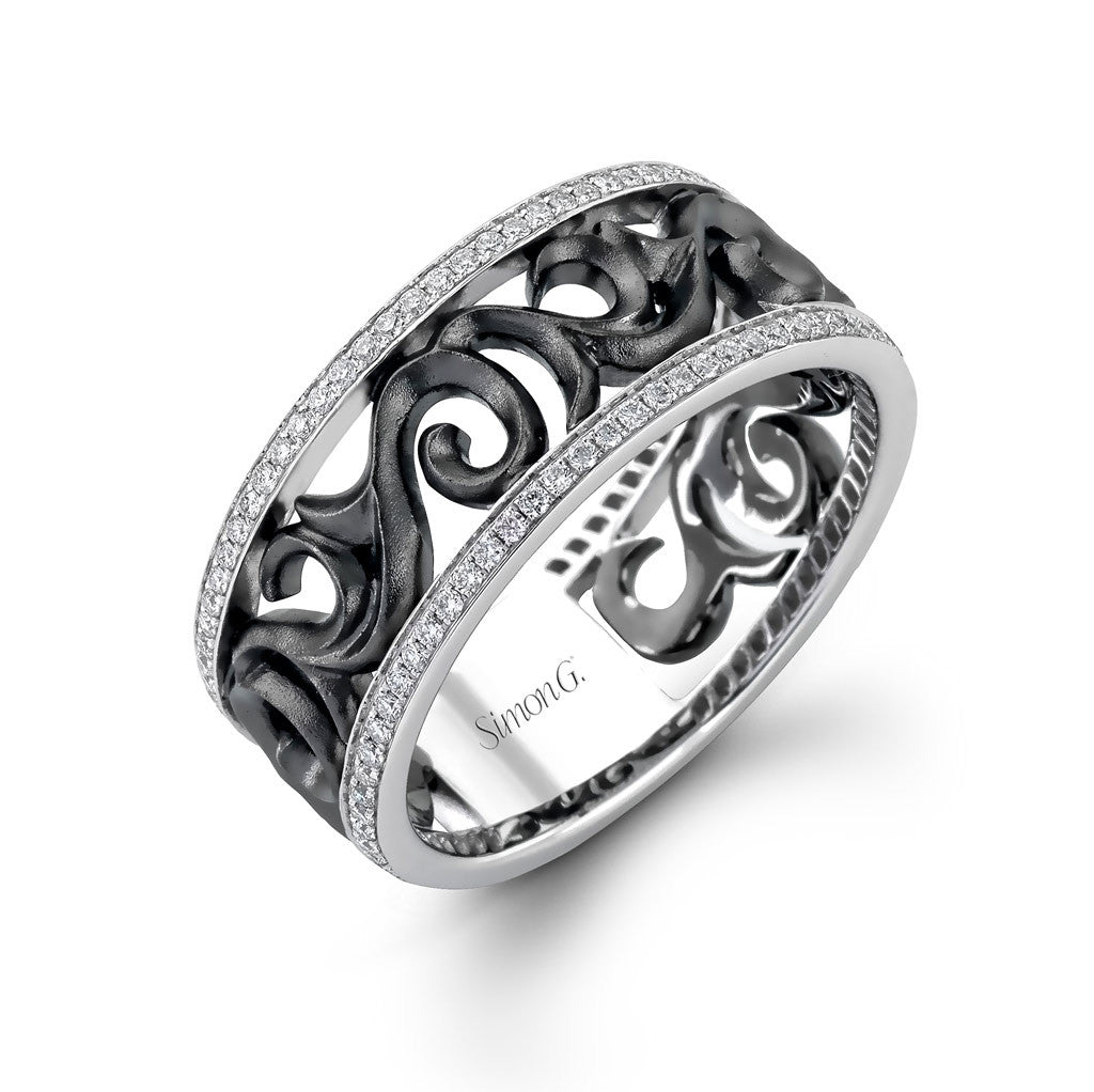 Gent's band featuring a dark scroll pierced design flanked by two rows of diamonds in white gold rails.