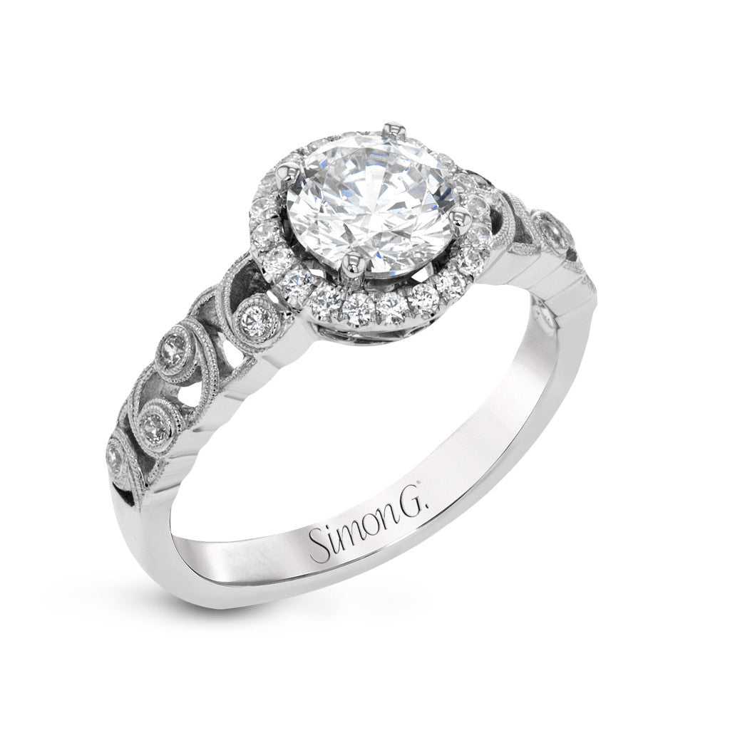 Updated Solitaire Scroll Engagement Ring by Simon G