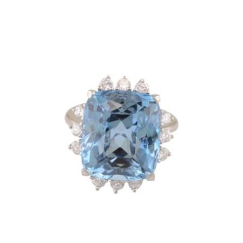 """Meghan"" Aquamarine and Diamond Right Hand Ring"