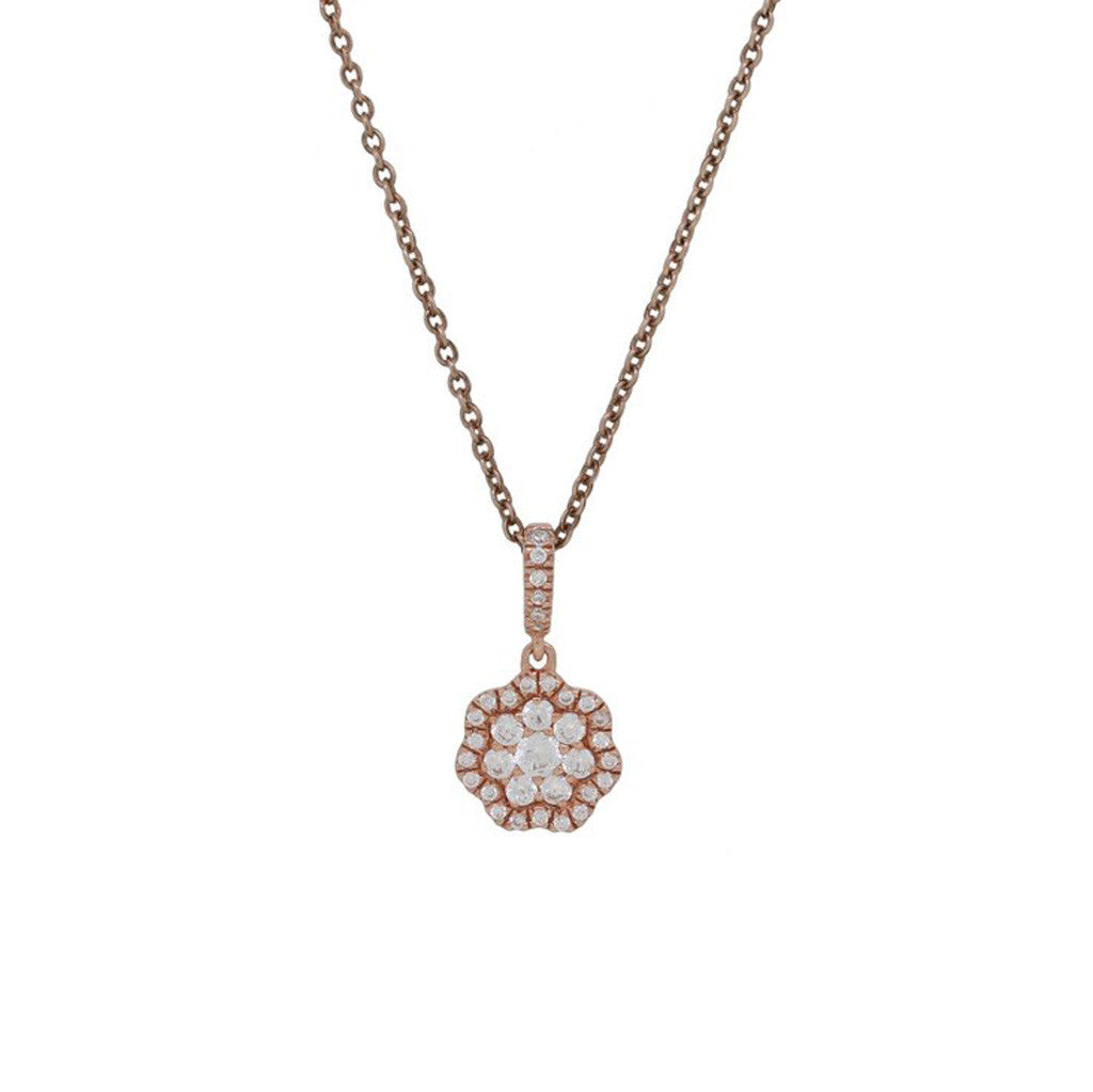 Delicate Rose Gold and Diamond Flower Necklace