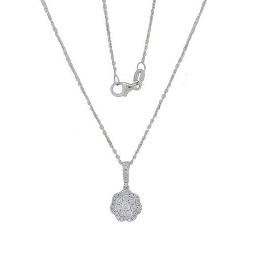 Floral Diamond Necklace in White Gold by Luvente