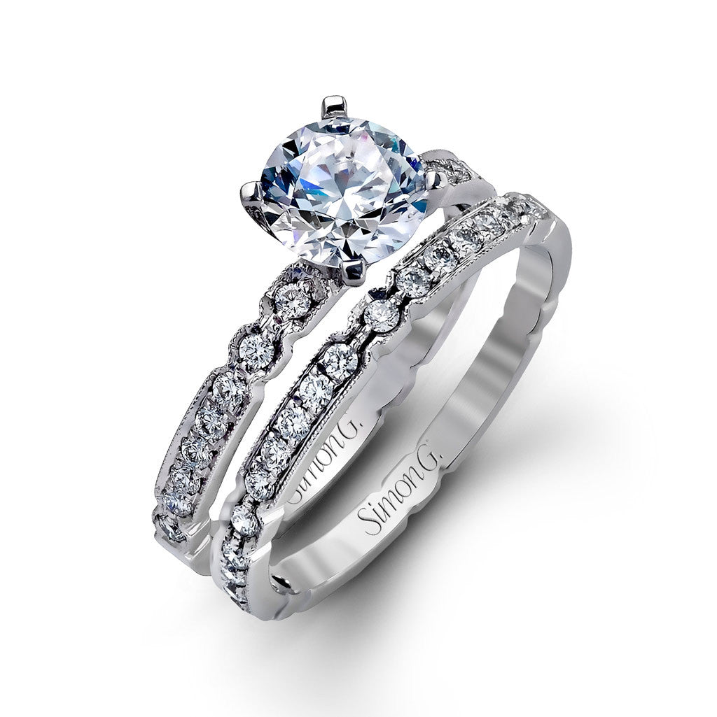 Vintage Inspired Engagement Set in Diamond and White Gold