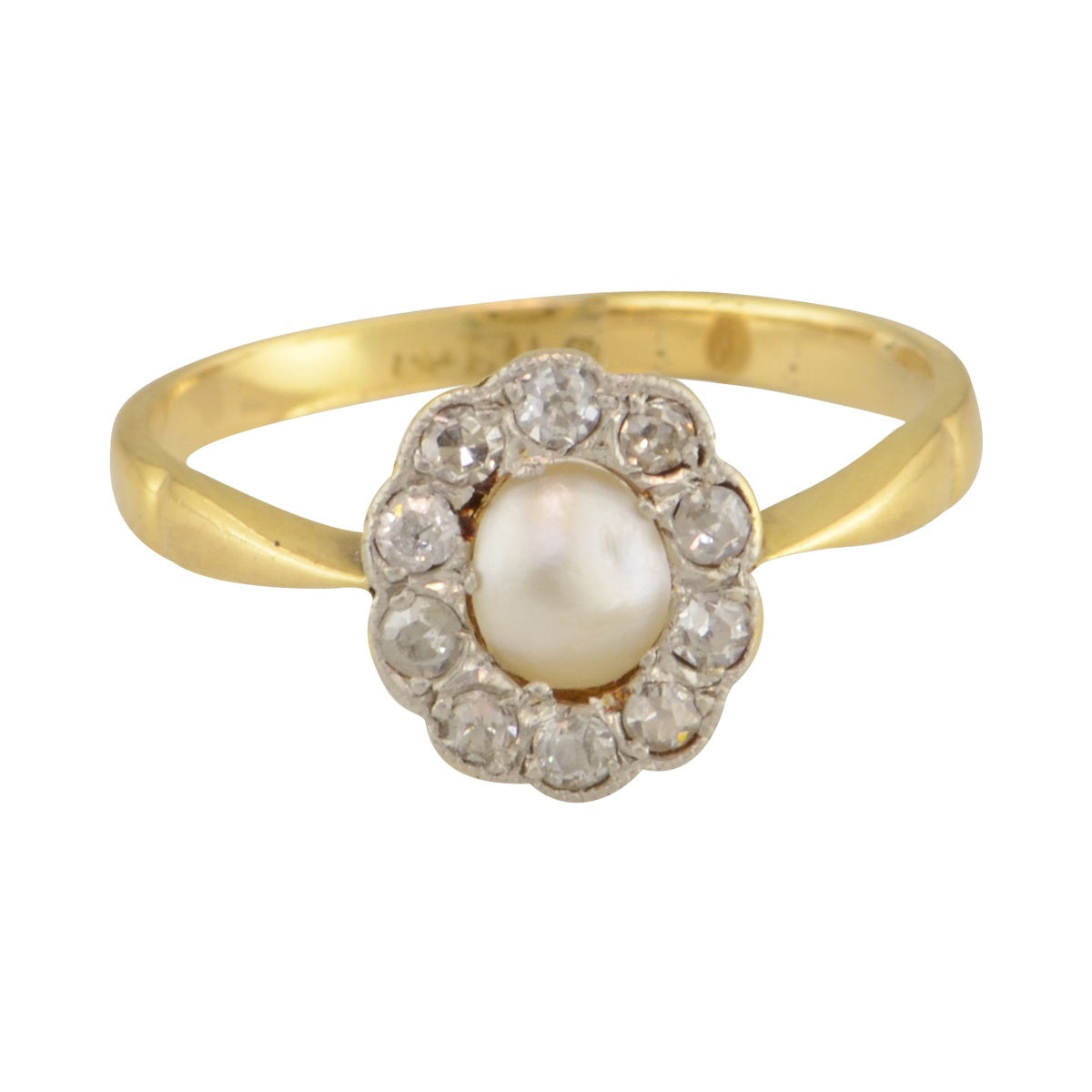 'Helena' Victorian pearl and diamond halo ring.