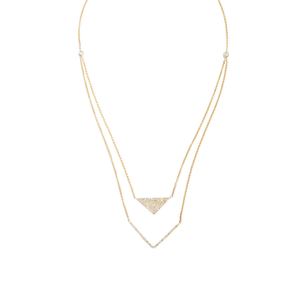 Bow & Arrow Necklace in 14k yellow gold and diamonds