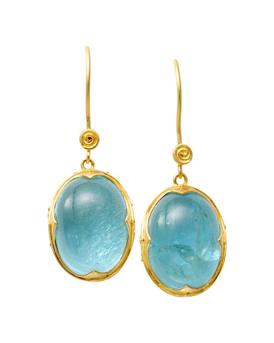 Neo Etruscan Aquamarine Earrings.