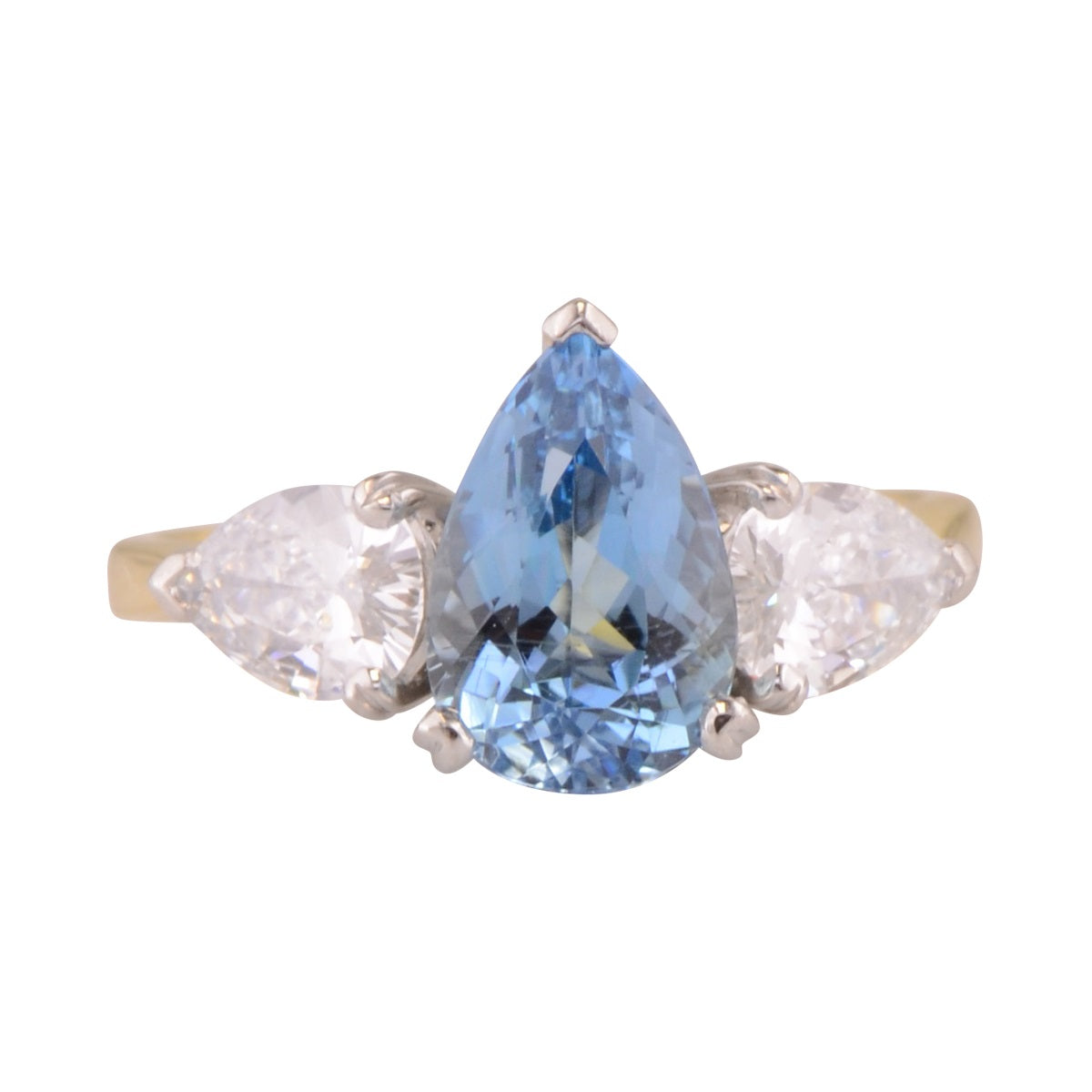 Bridgette Aquamarine Ring with diamond side stones