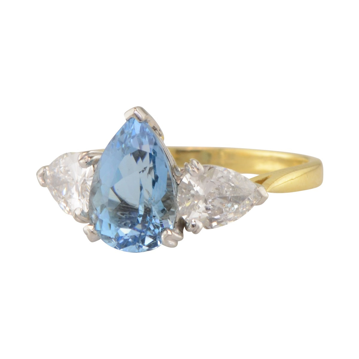 Pear Shaped Aquamarine Ring 'Bridgette' with Pear Shaped Diamond Sides.