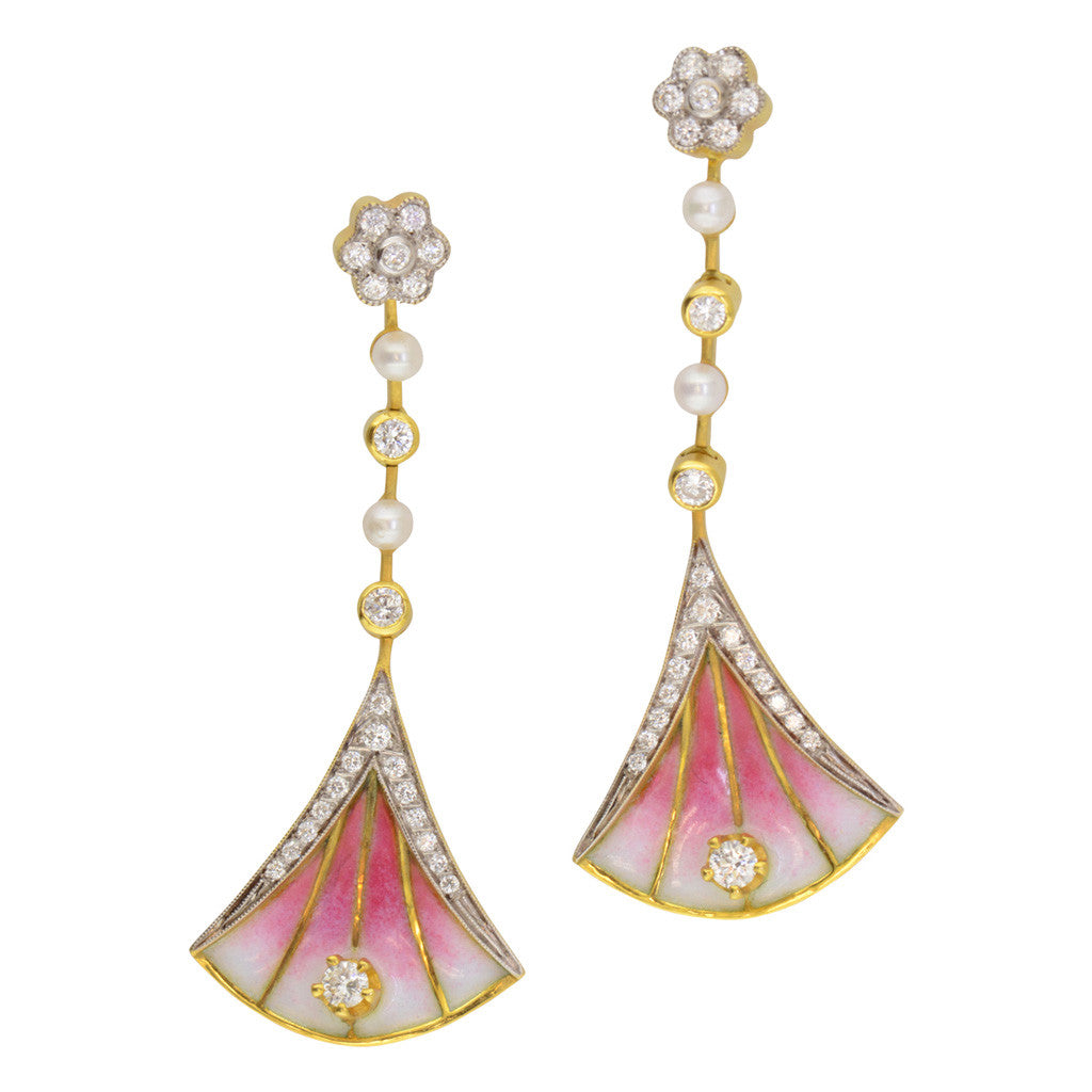 Masriera Enamel Earrings with Diamond and Pearl Accents