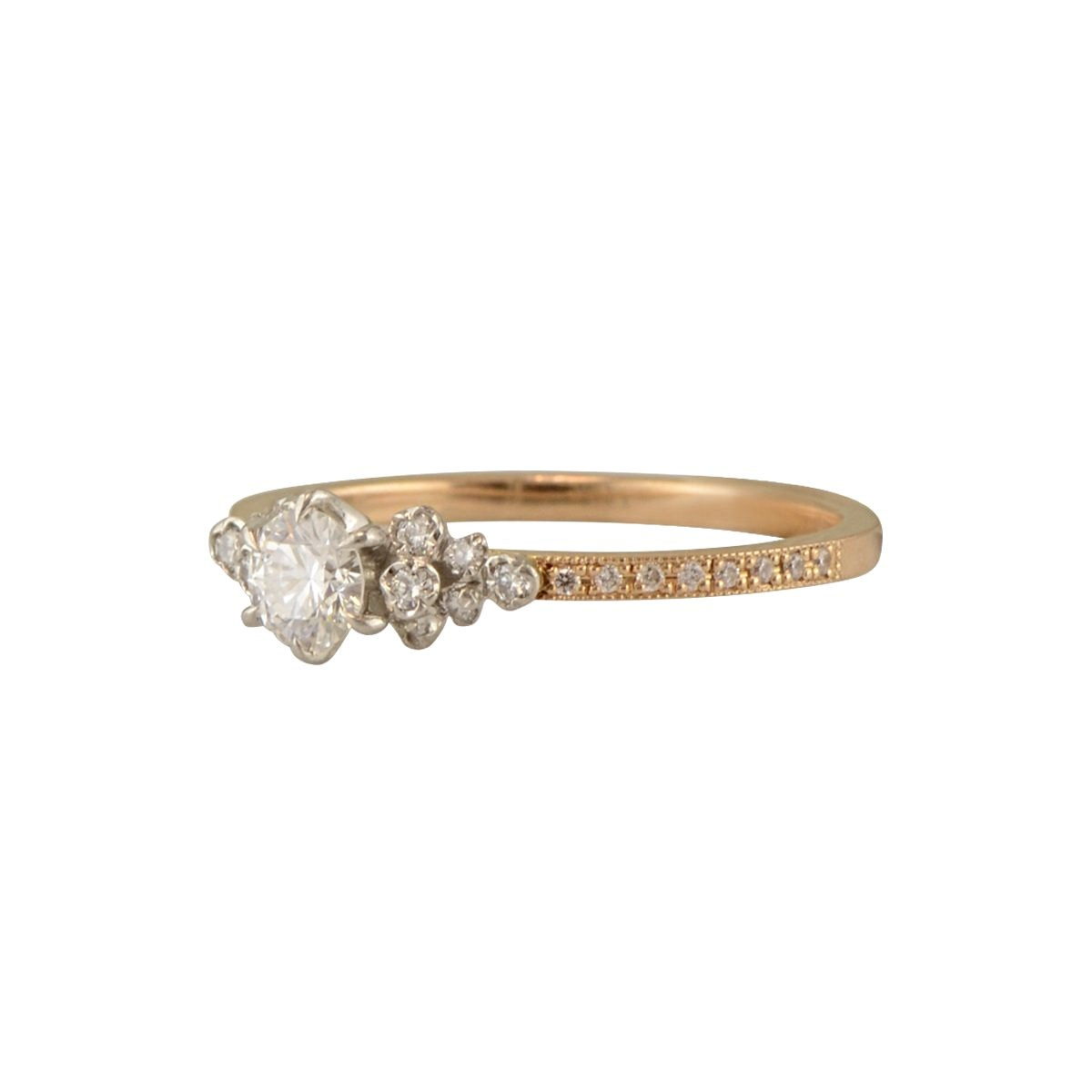 'Portia' Antique Engagement ring in diamond and rose gold
