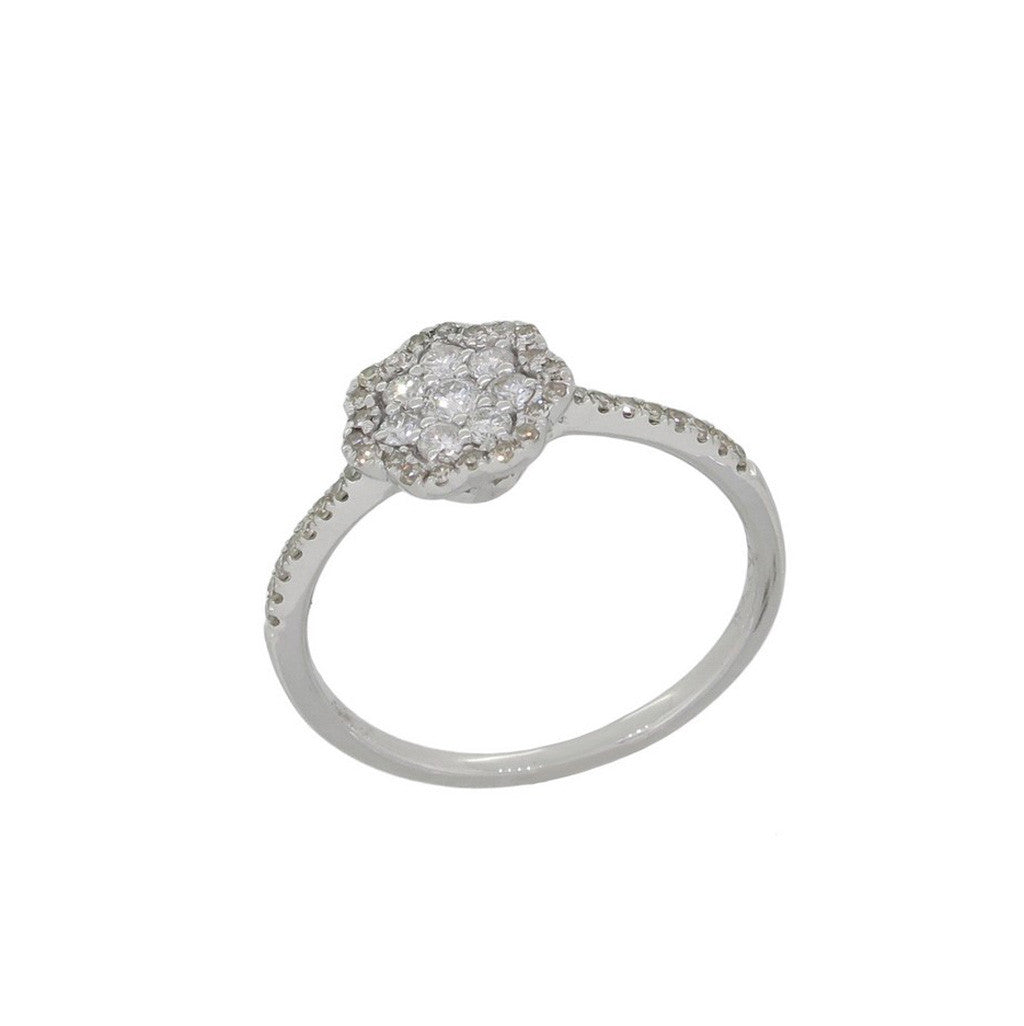 White Gold and Diamond Floral Ring by Luvente