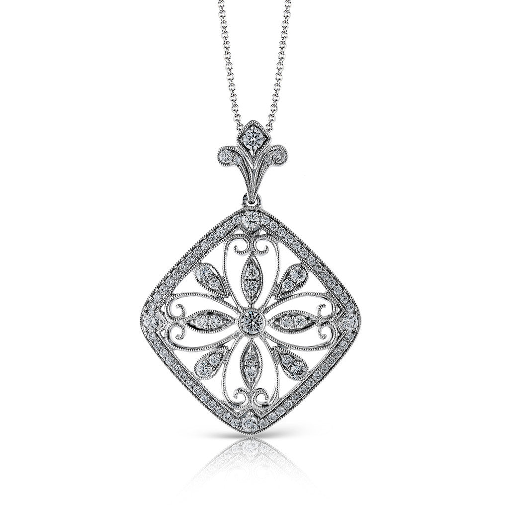 Diamond Filigree Pendant Necklace by Simon G