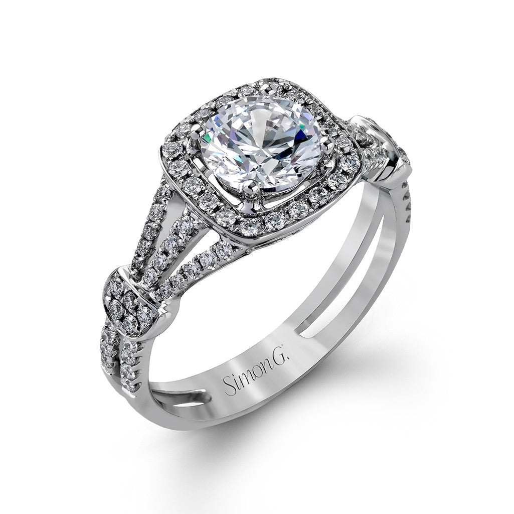 Tripple Shank Diamond Halo Engagement Ring