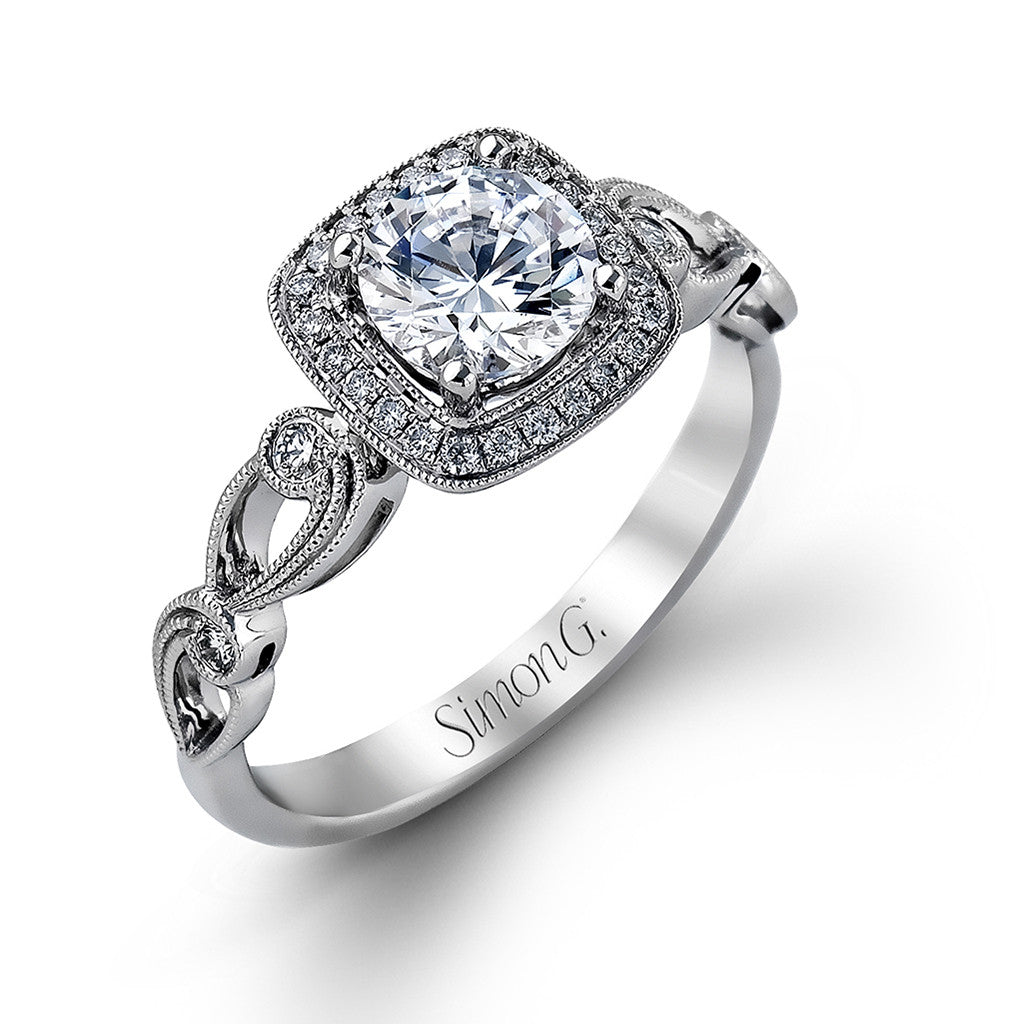Vintage Inspired Cushion Halo Engagement Ring