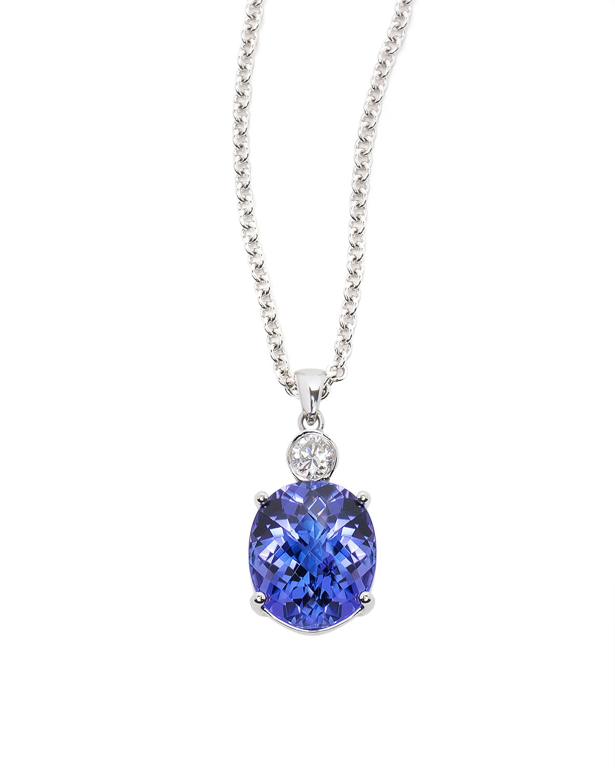 Tanzanite and Diamond Pendant in White Gold