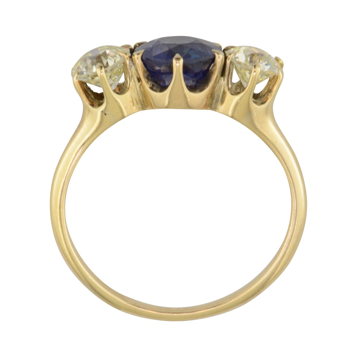 Tryon Creek Antique three stone engagement ring with sapphire and diamond.