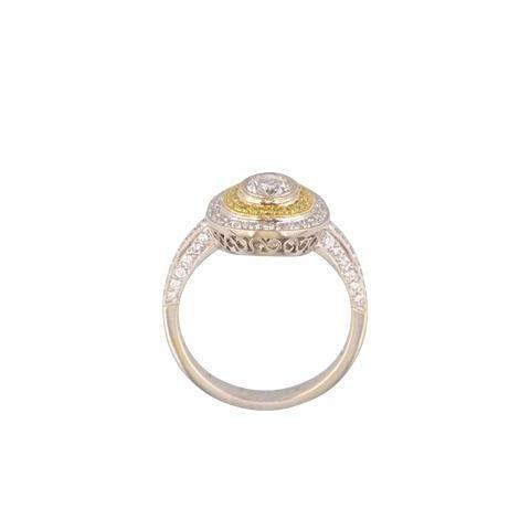 Oval diamond halo ring with yellow diamond accents, 'Viola'.