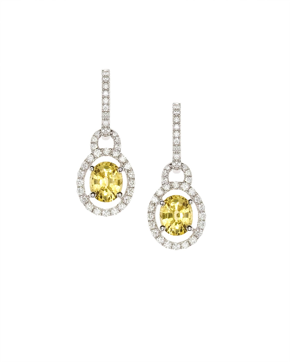 'Sunny' natural Yellow Sapphire and Diamond Earrings in White Gold.