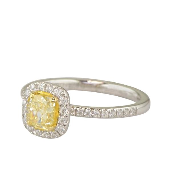 Fancy Yellow Cushion Cut Diamond halo Ring 'Beatrice'