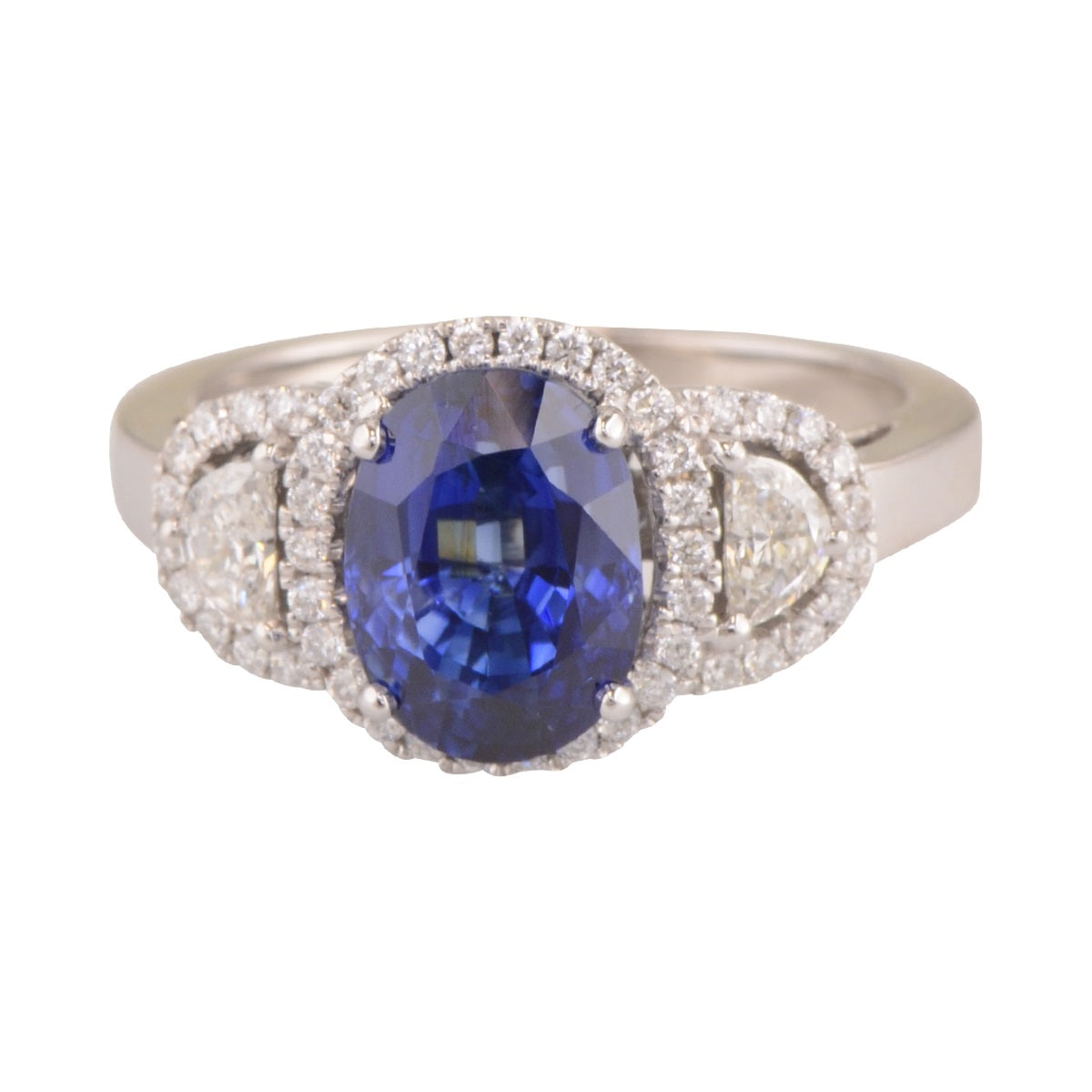 'Blue Moon' sapphire and diamond halo ring.